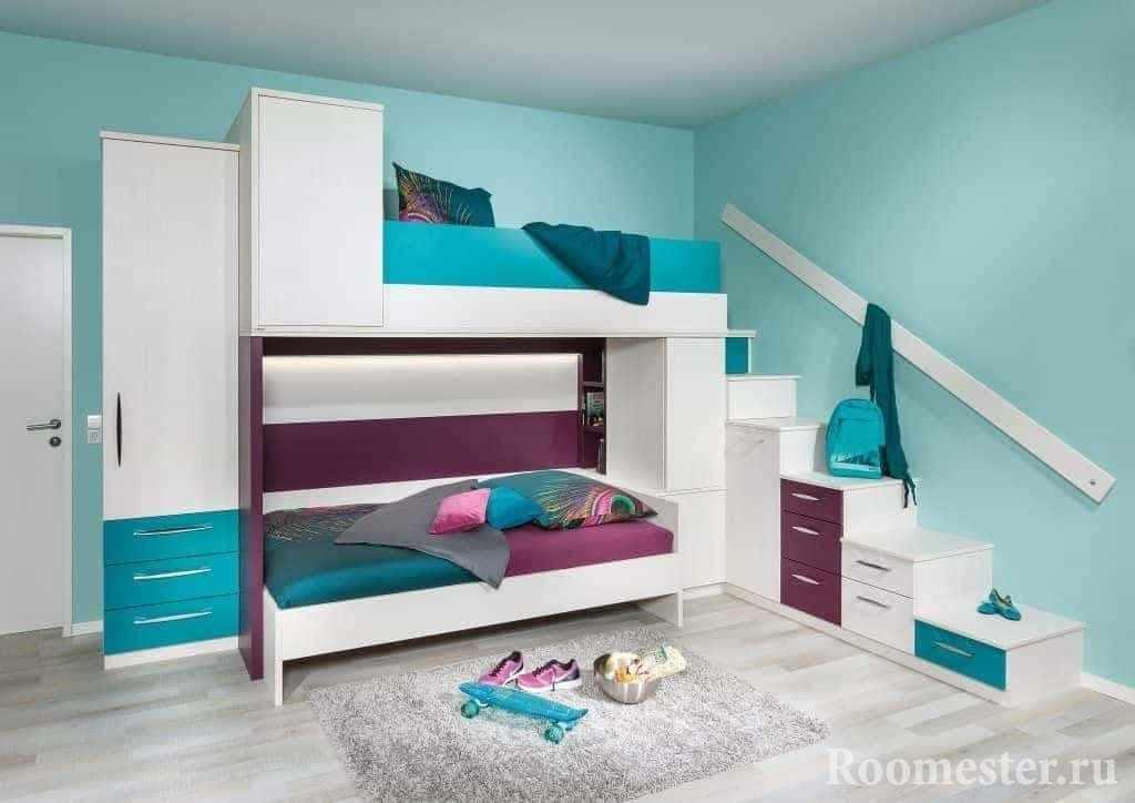 Детская комната в бирюзовом цвете