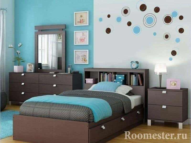 Декор спальни в бирюзовом цвете