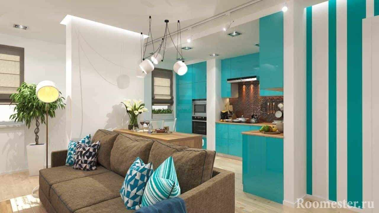 Бирюзовый цвет в квартире студии