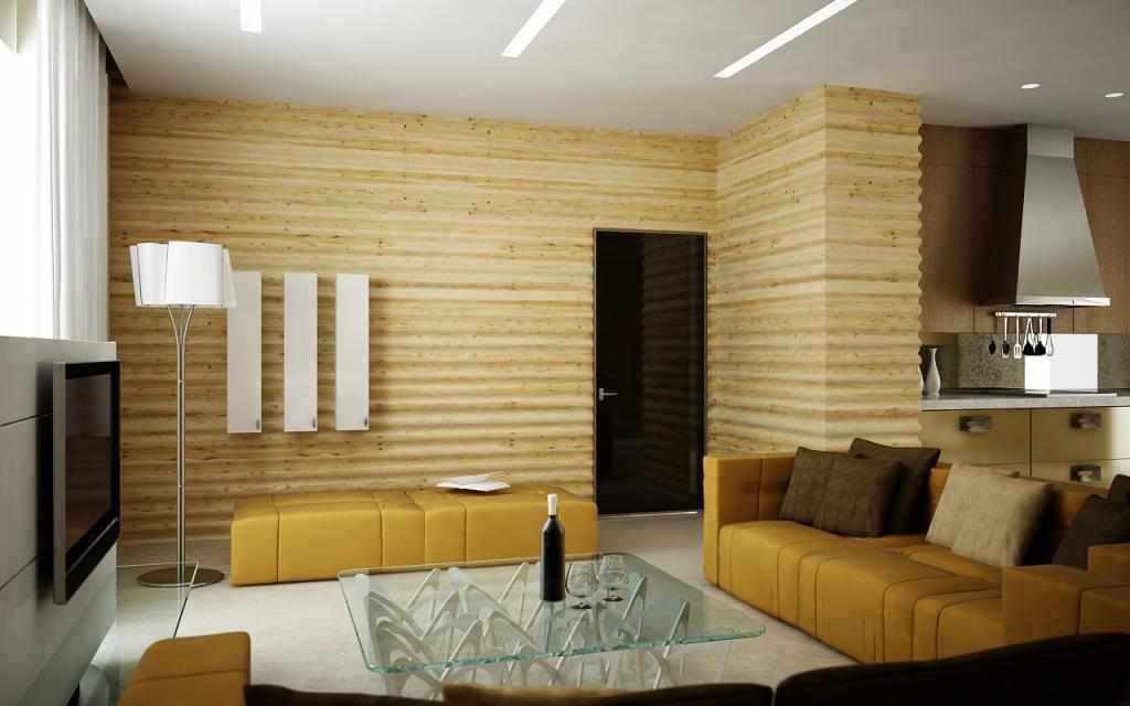 Блок-хаус в гостиной