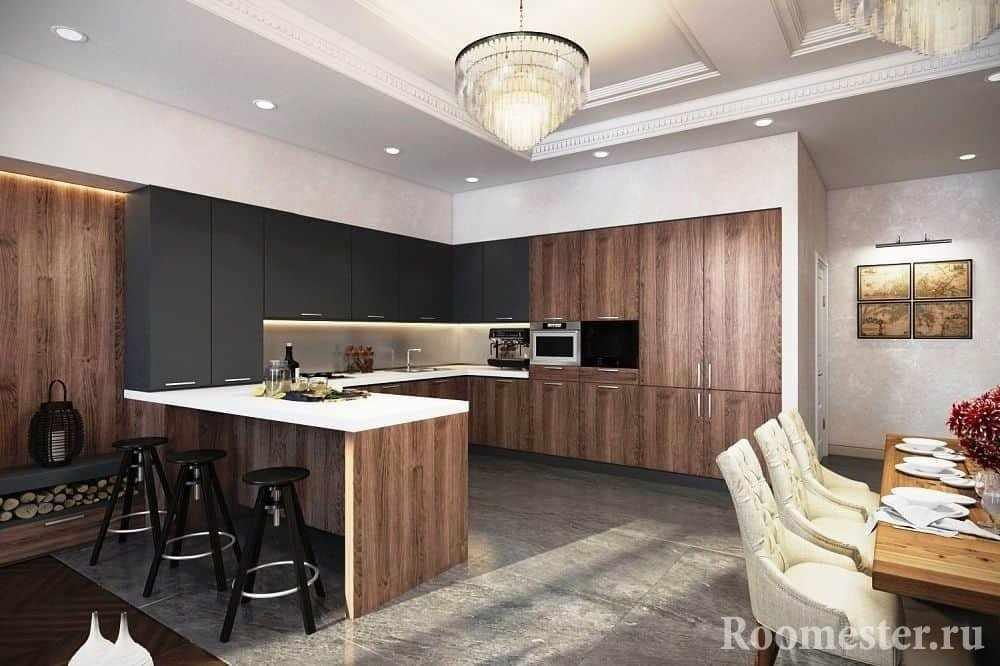 Сочетание черного цвета с деревом на большой кухне