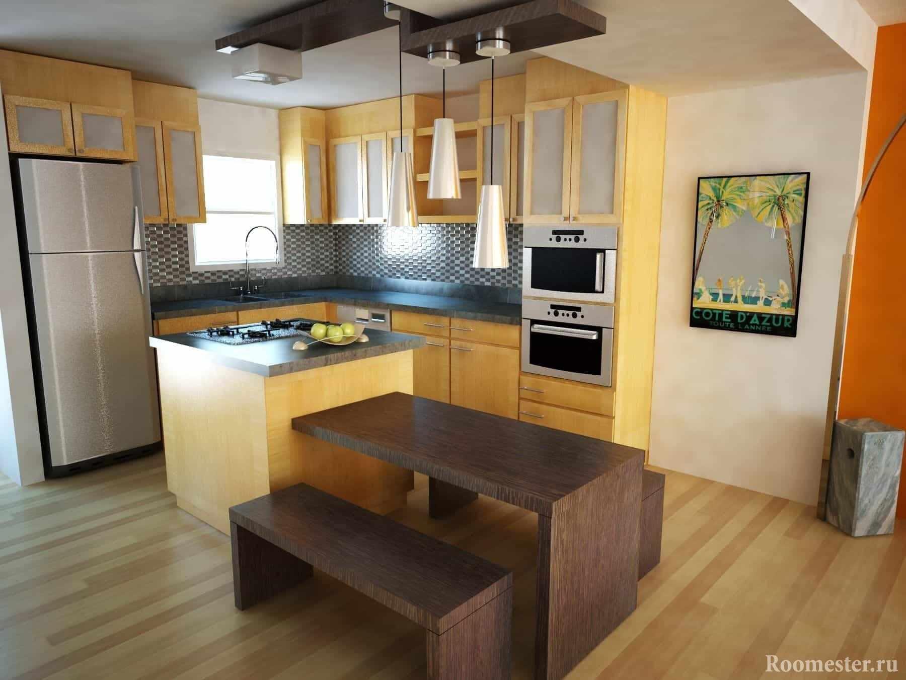 Угловая кухня с окном со столом и лавками в эко стиле