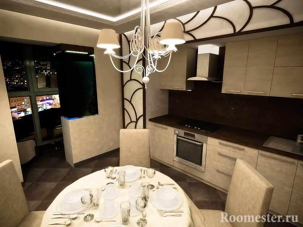Кухня объединённая с балконом