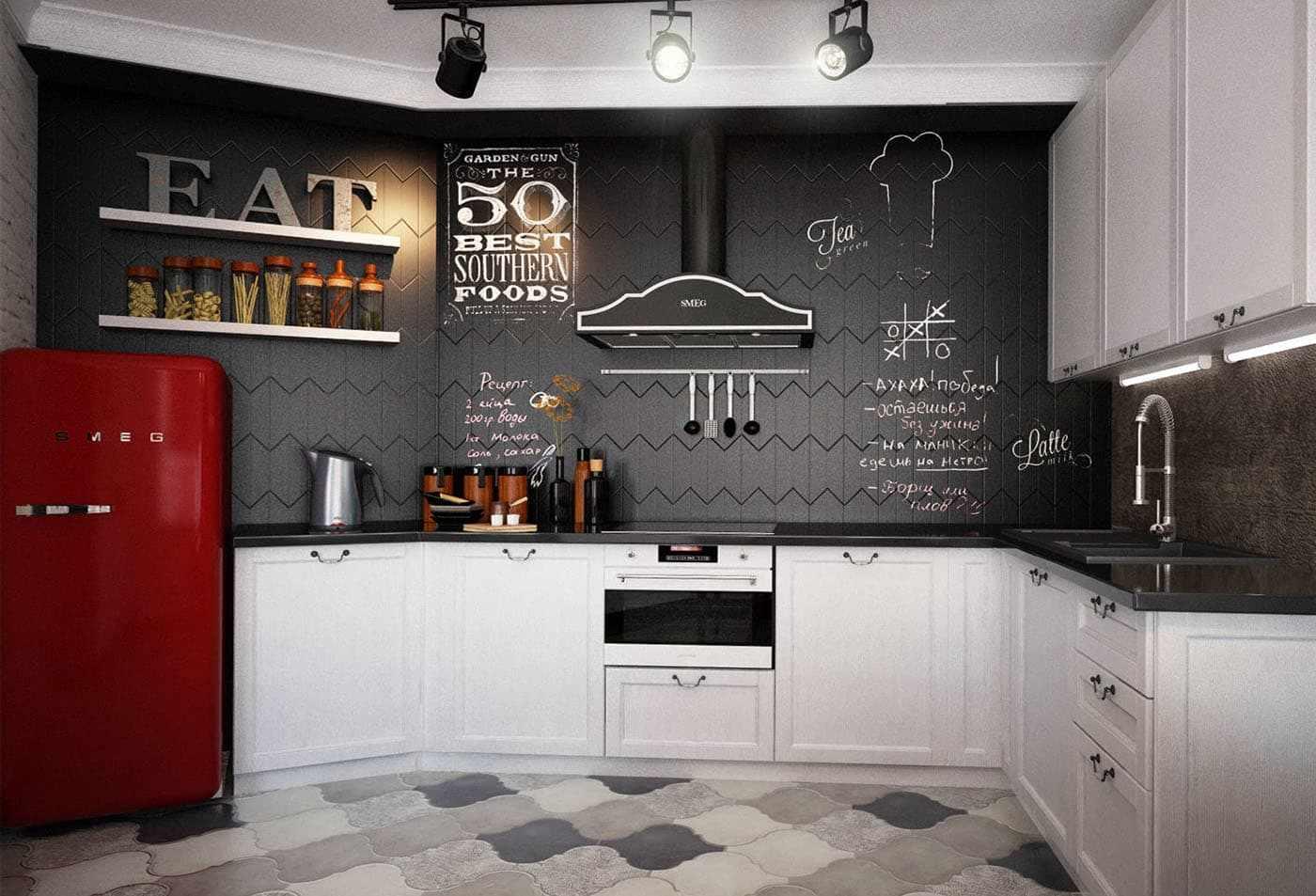 Черно-белая кухня с красным холодильником
