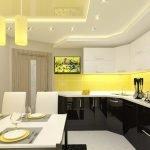 Черно-белая кухня с желтыми акцентами