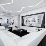 Белый потолок с подсветкой на кухне