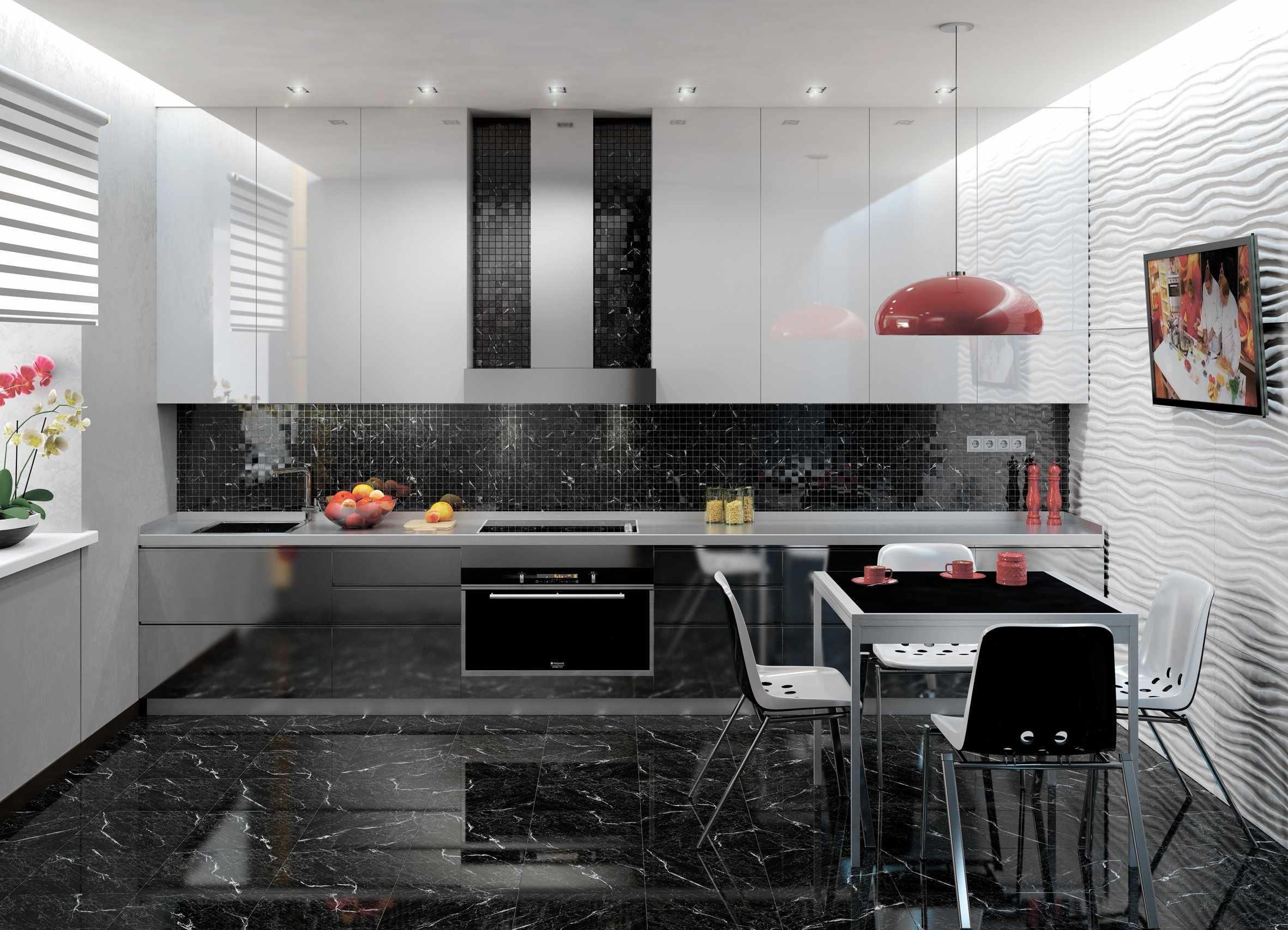 Современная кухня в черно-белых тонах