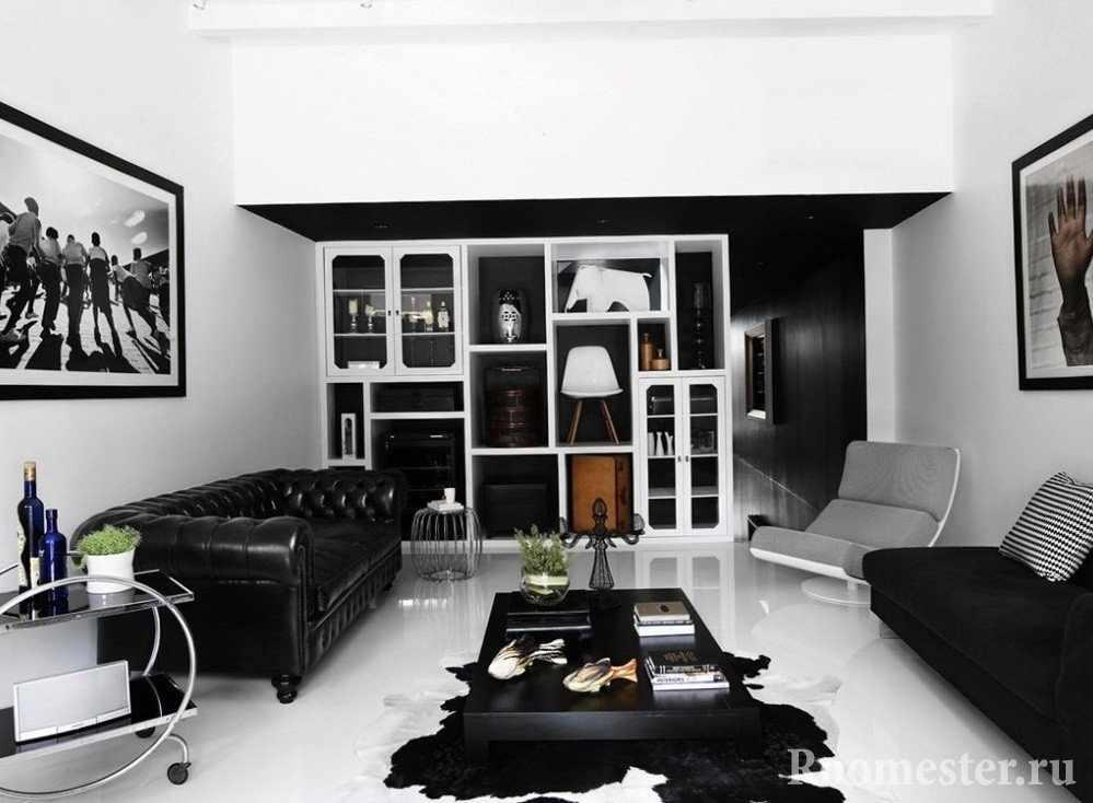 Белый пол и черная мебель