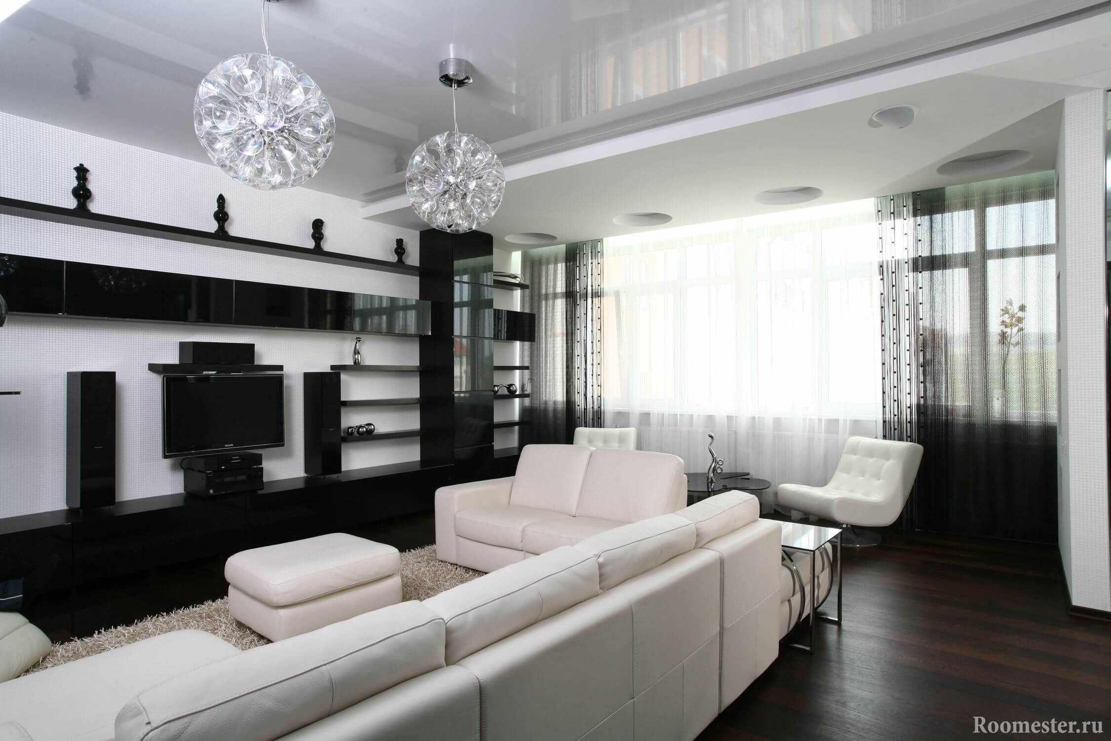 Черный стеллаж в гостиной