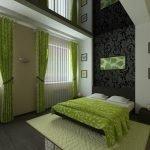Зелено-черный декор спальни