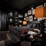 Черный декор спальни с частном доме