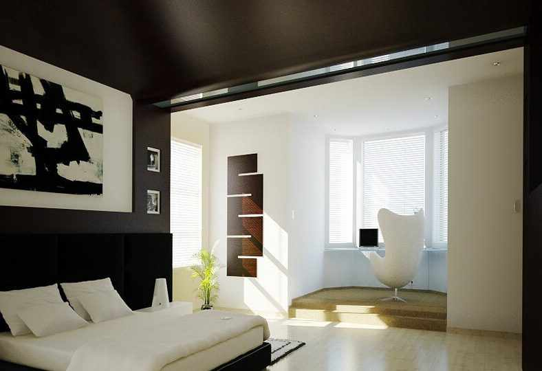 Уютная спальня с черным потолком и стенами