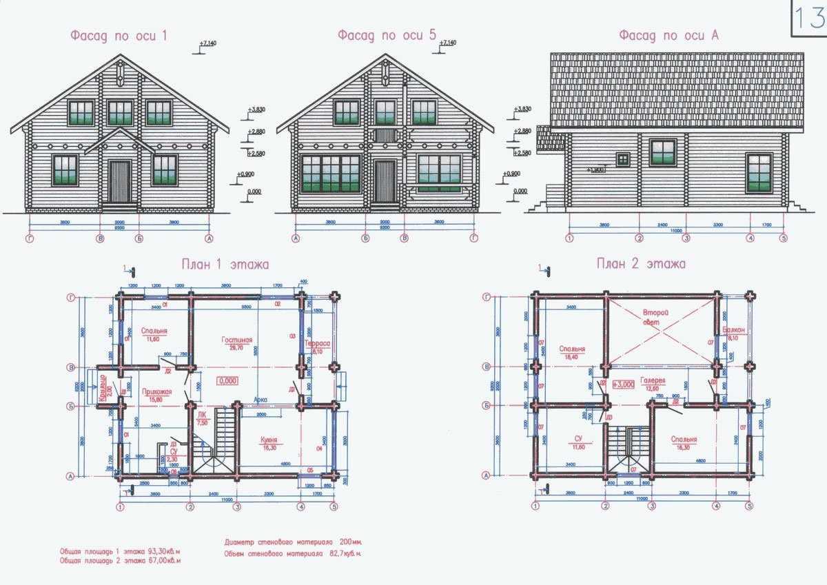 Чертеж дома с размерами