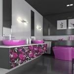Черно-розовая ванная комната