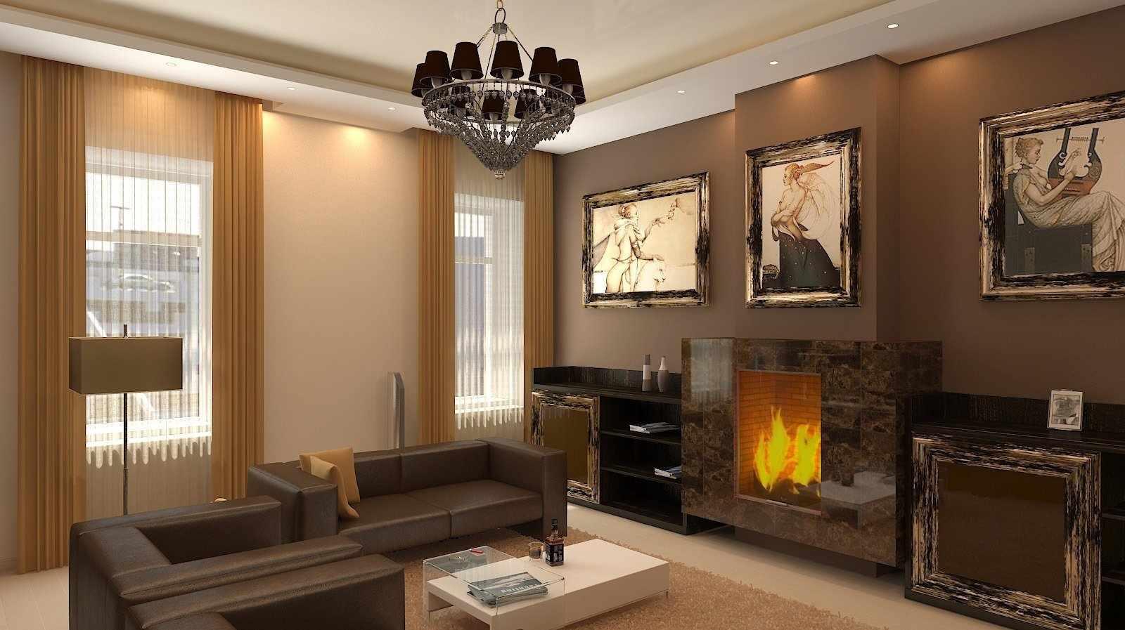 Картины и камин в гостиной