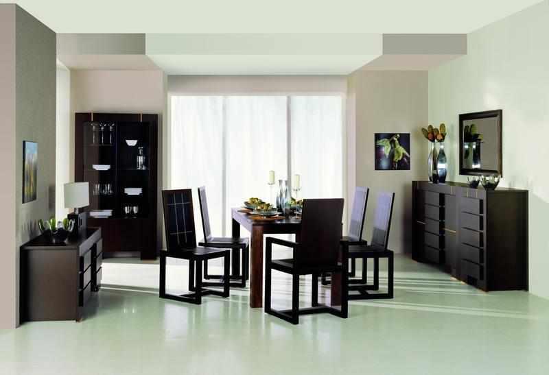 Темная мебель в столовой