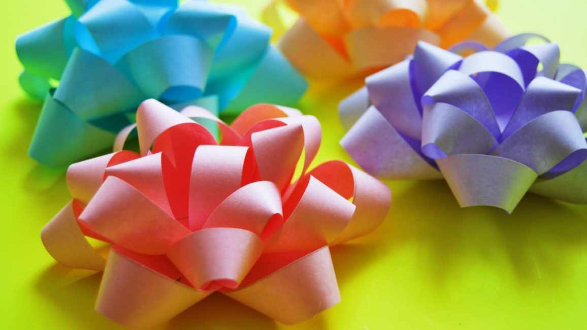 Цветы из бумажной ленты