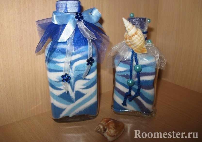 Морская тематика в бутылках с солью