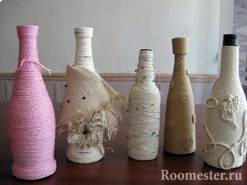 Оформления бутылок разной формы