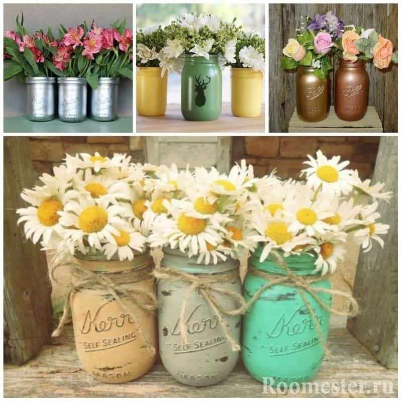 Необычные вазы из банок