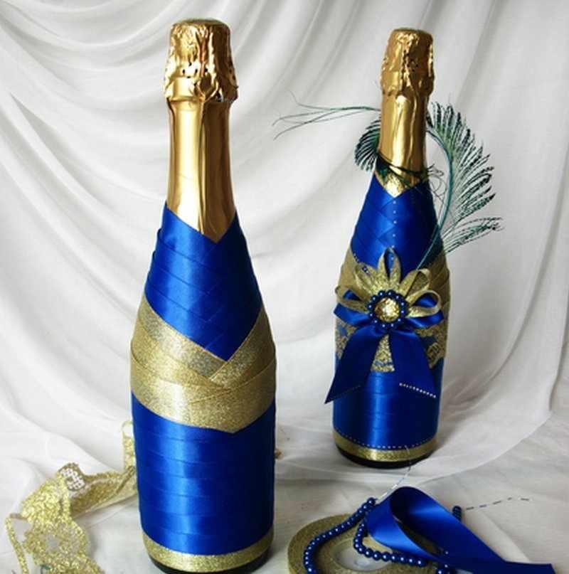 Декор бутылок атласной тканью