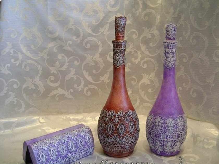 Декор бутылок кружевом