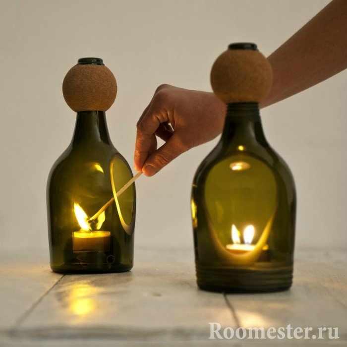 Свечной светильник из бутылочек