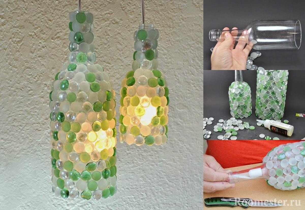 Оклейка бутылки цветными стеклышками
