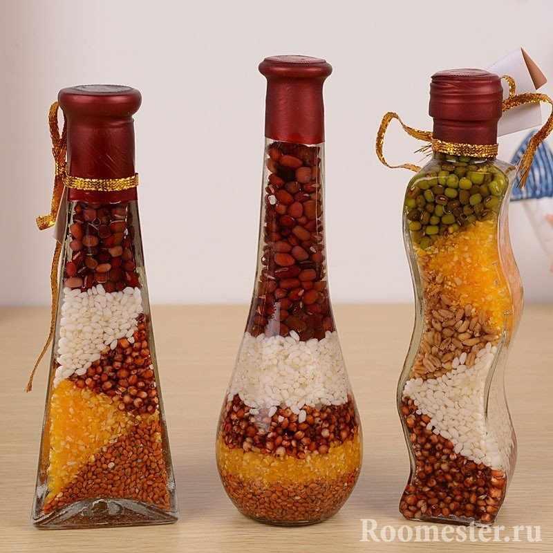 Крупа как декор для наполнения бутылок