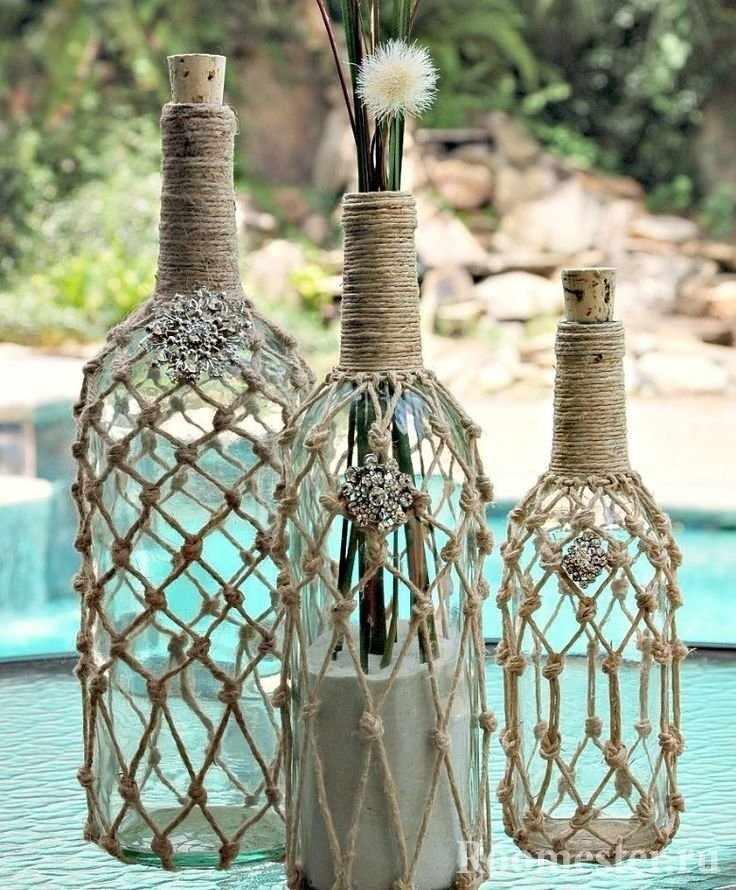 Вязанный декор бутылок
