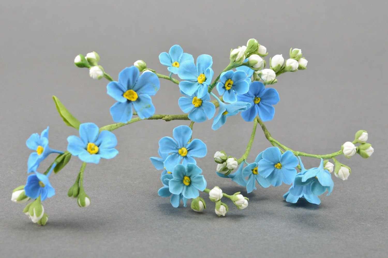 Голубые цветы из полимерной глины