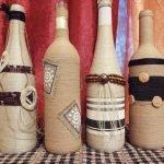 Применение веревки для оформления бутылки