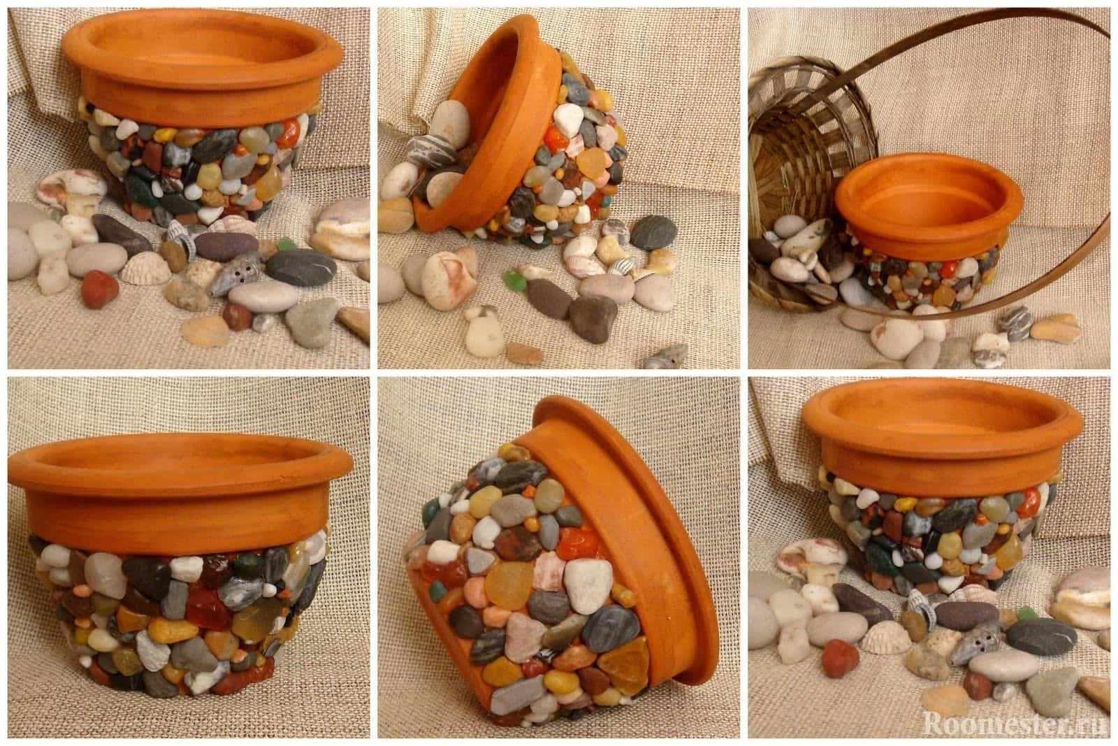 Глиняный цветочный горшок в гальке