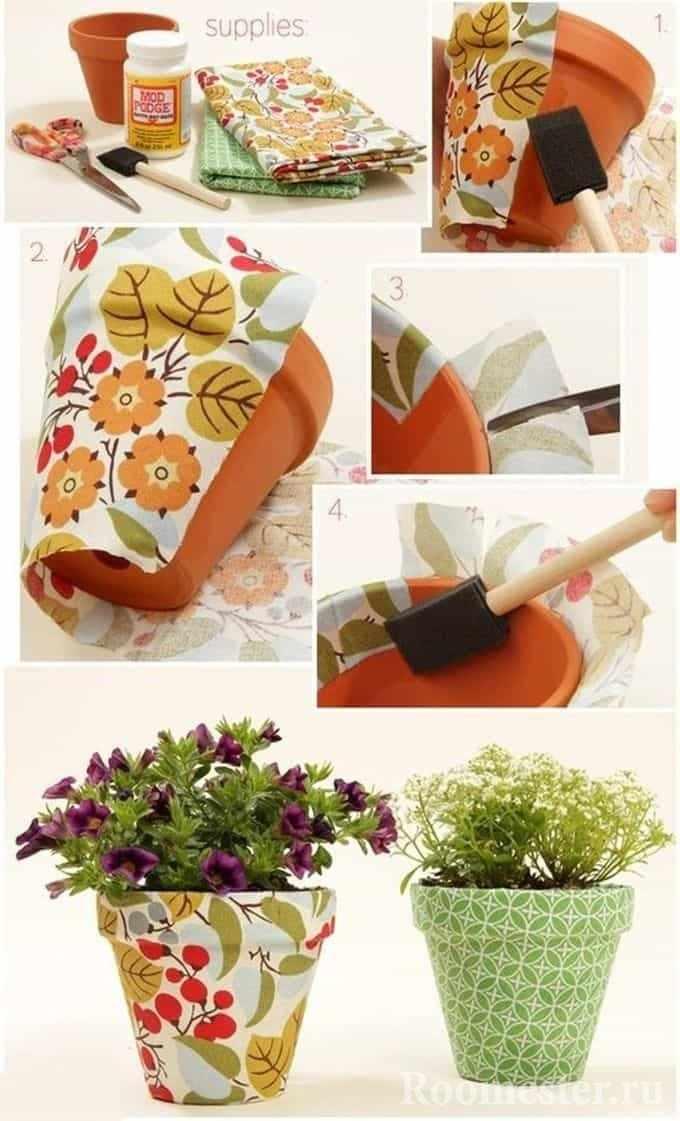 Декорирование тканью цветочного горшка