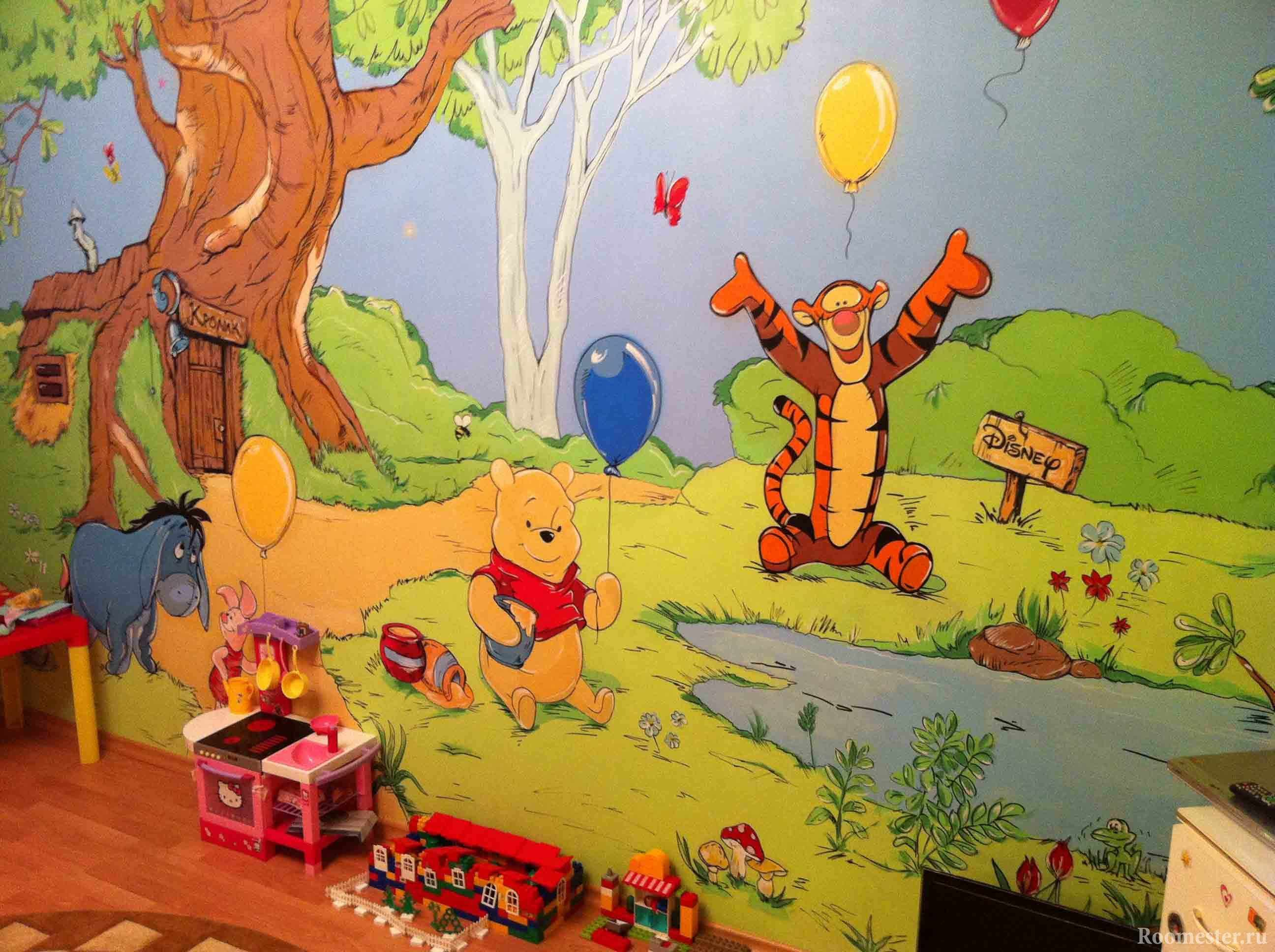 Роспись стен сценами из мультфильмов