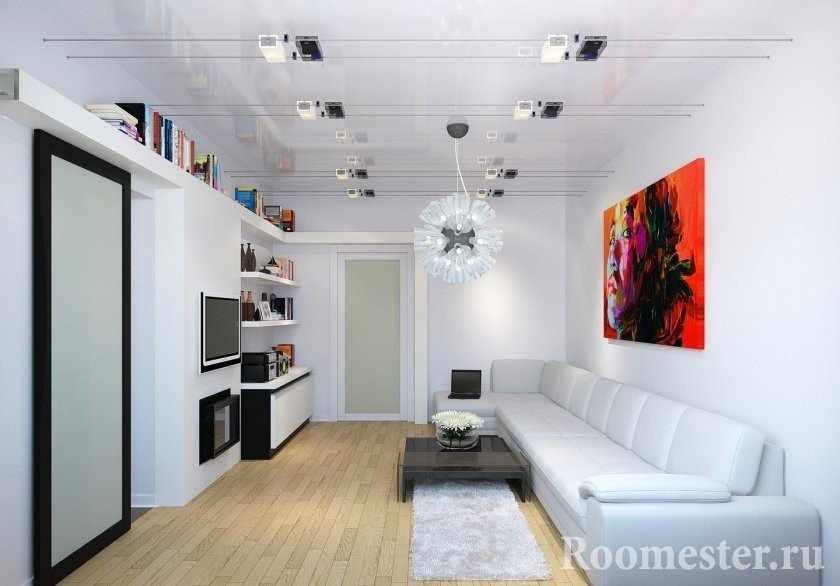 Красная картина в белой гостиной