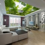 Необычный потолок в интерьере гостиной
