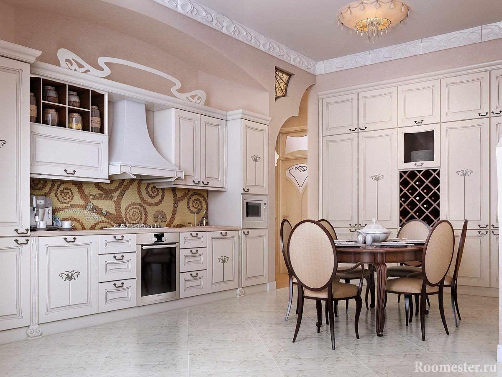 Декор большой кухни в стиле модерн