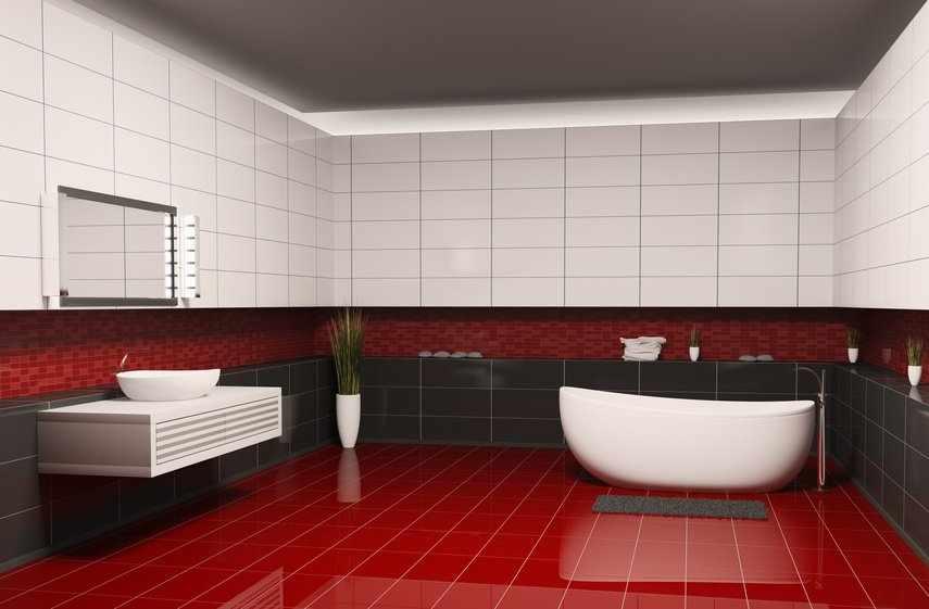 Красная, черная и белая плитка в дизайне ванной
