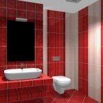 Полосатые стены в ванной