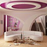 Покраска многоуровневого потолка в гостиной комнате