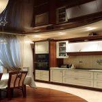 Благородный коричневый цвет натяжных потолков для кухни