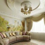 Дизайн потолка в спальной комнате в классическом стиле