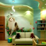 Использование гипсокартона для изготовления объемных композиций навесного потолка в детской комнате