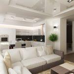 Натяжной потолок с гипсокартоном в светлой гостиной