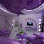Мебель и натяжной потолок одним цветом
