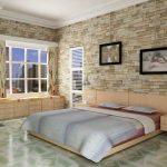 Стены в спальне под камень