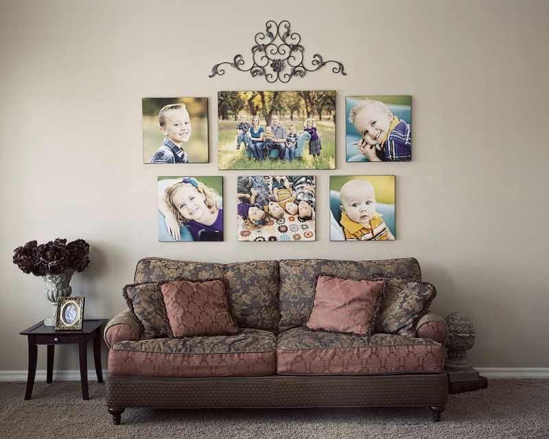 Фотогалерея над диваном