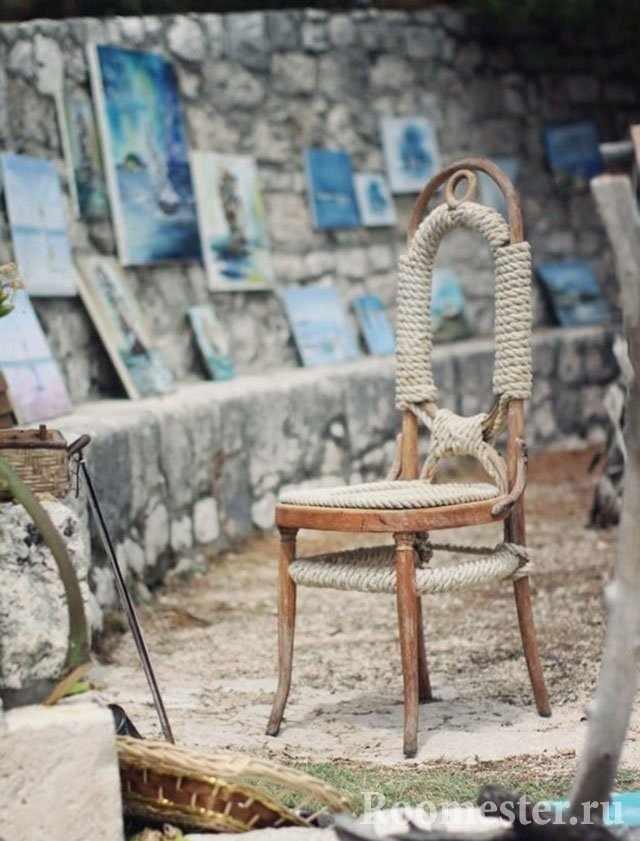 Плетение на стуле бечевкой