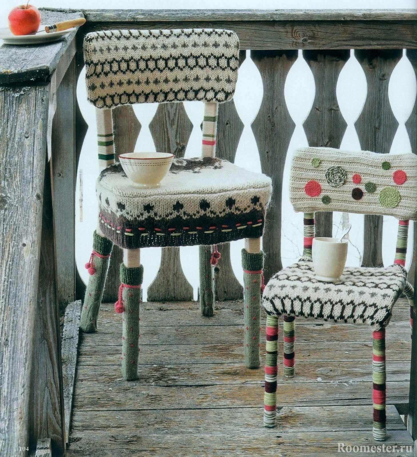 Стул с вязанным чехлом на сидушку, спинку и ножки